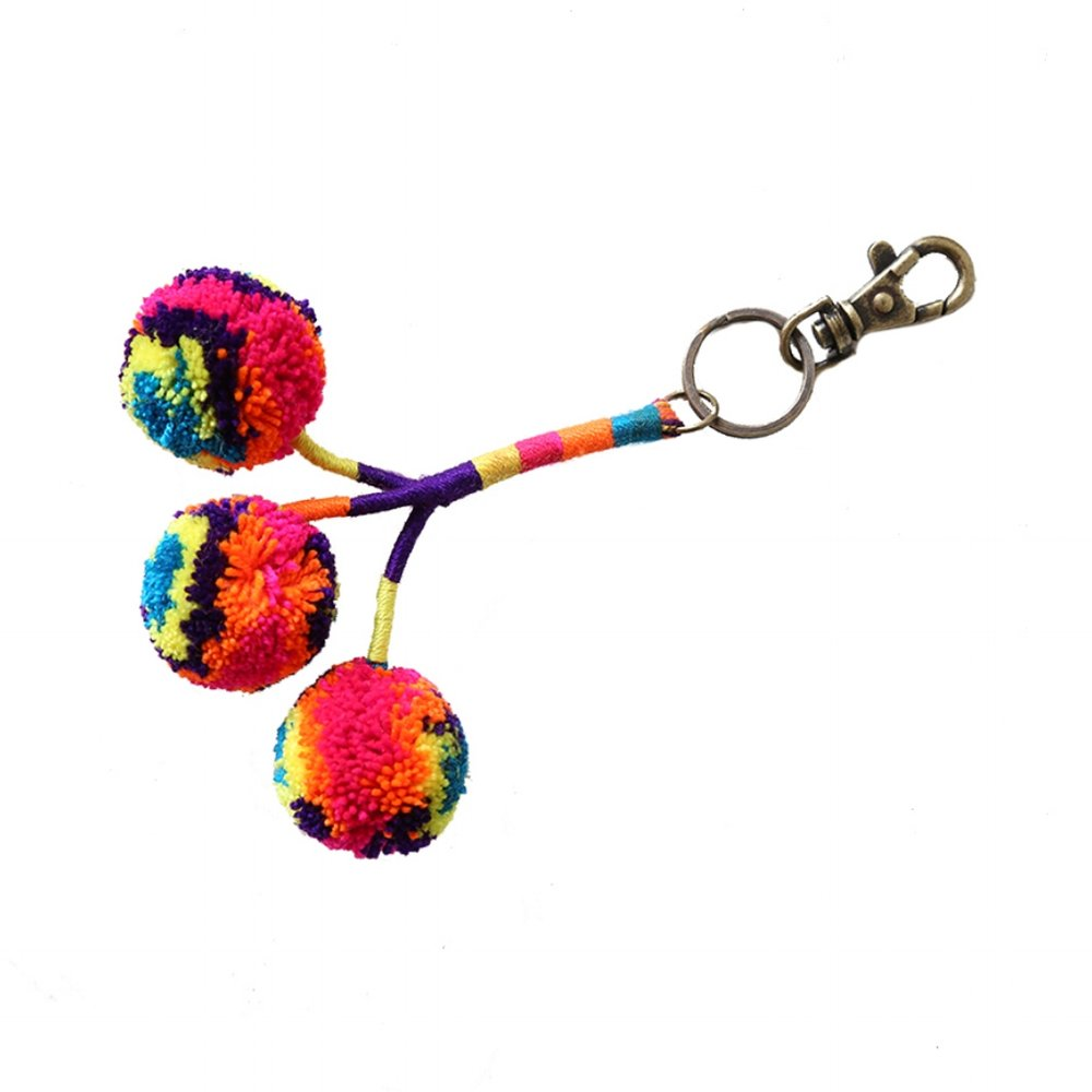 Pom Key Fob Purple Multi