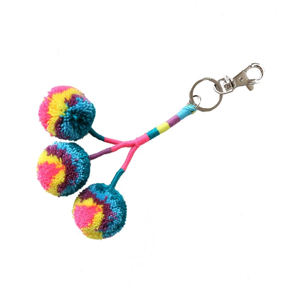 Pom Key Fob Teal Multi