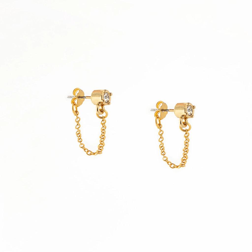 Chain Loop Gem Earrings