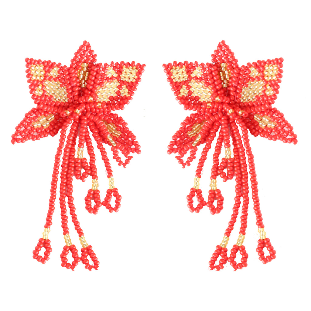 Red Orchid Earring