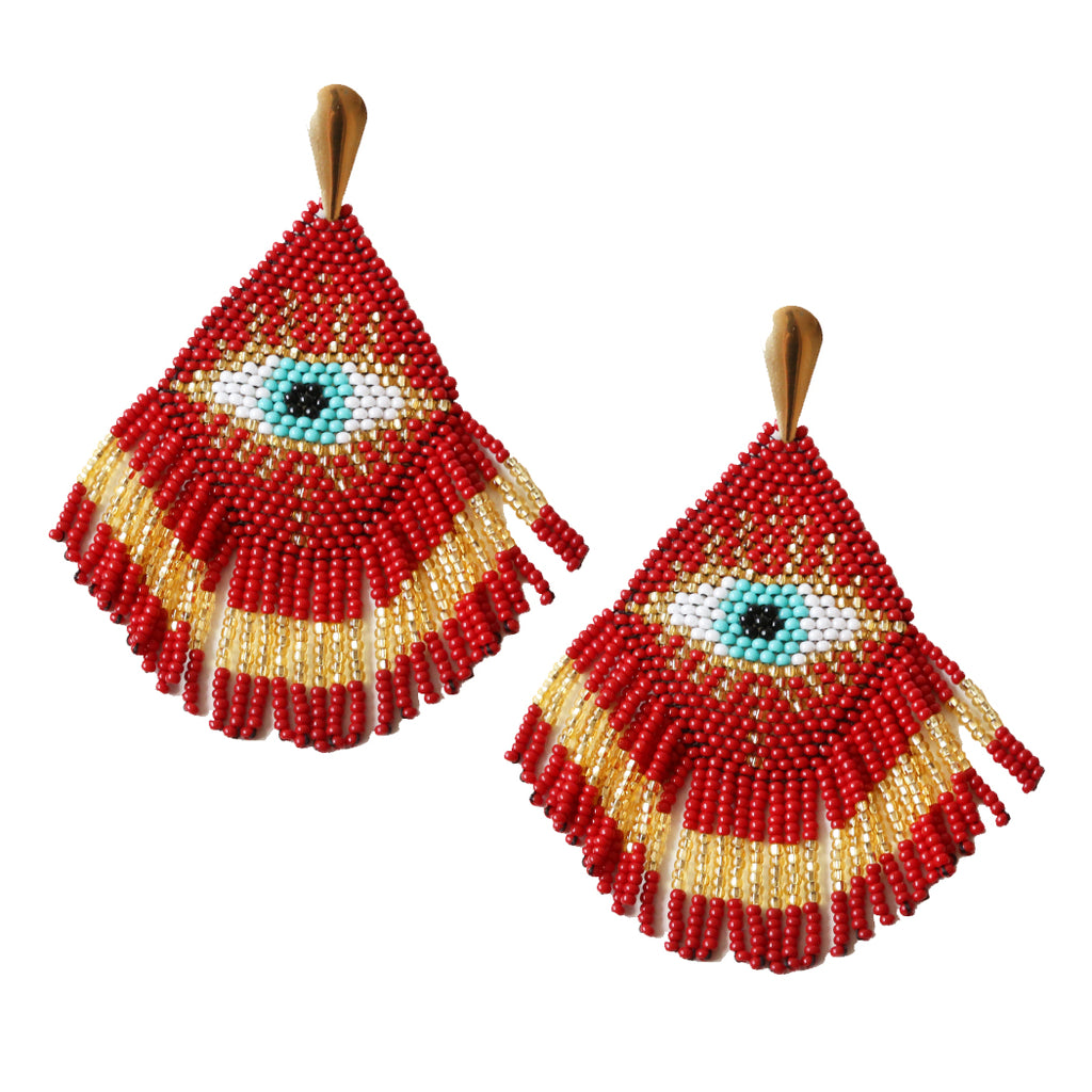 Red Eye Knit Earrings