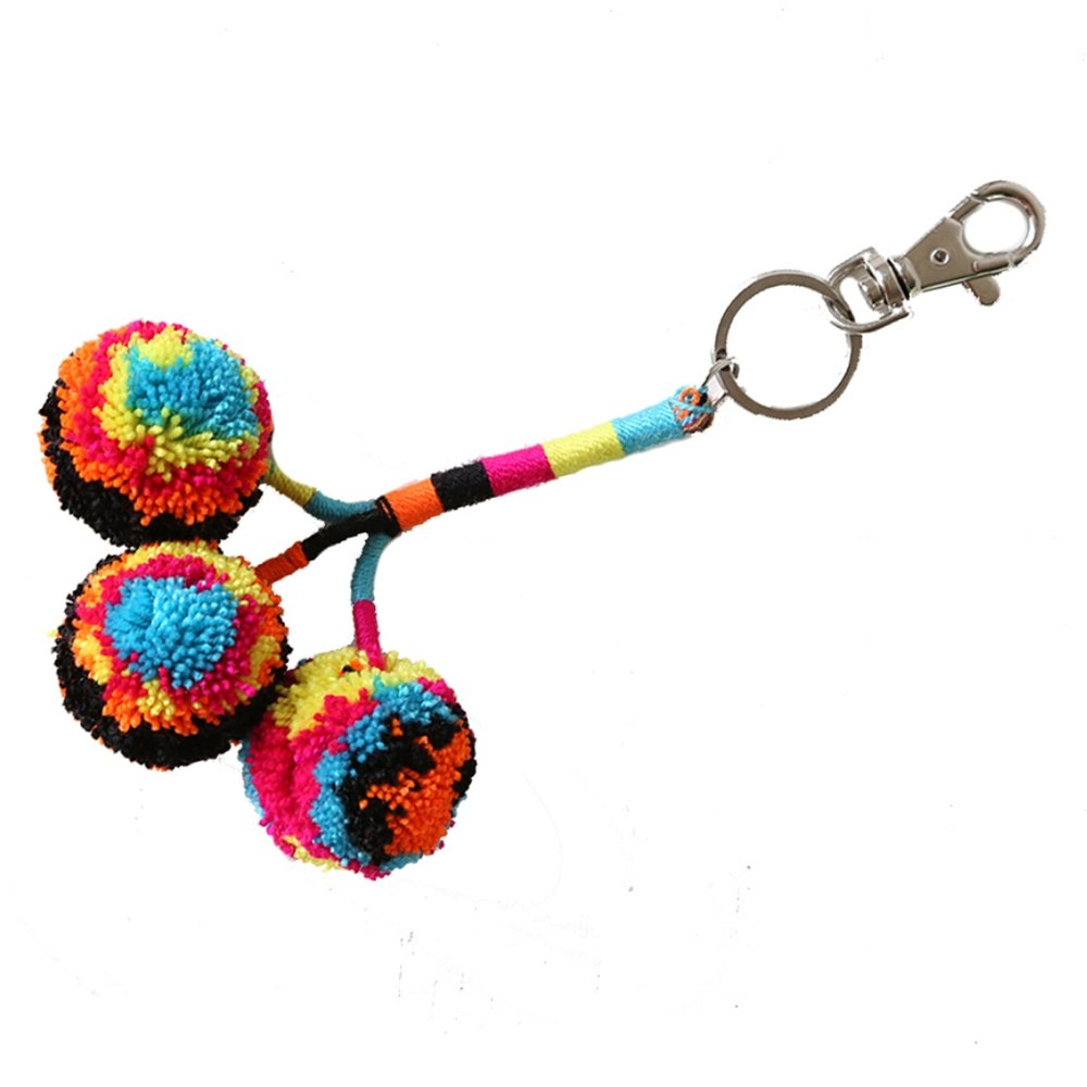 Pom Key Fob Black Multi