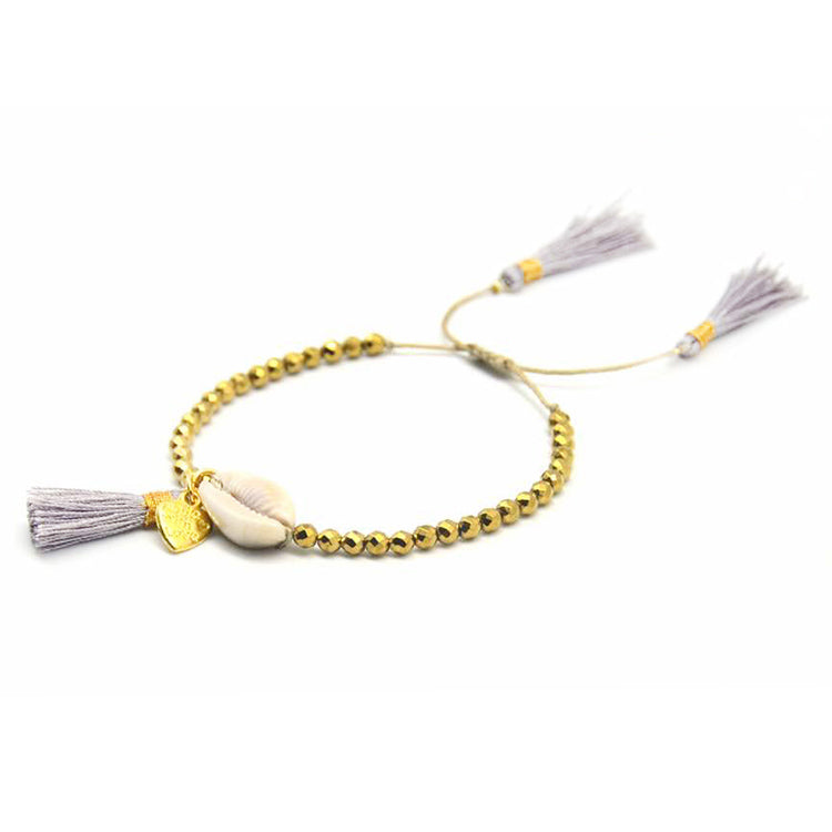 Beaded Shell Tassel Bracelet Silver