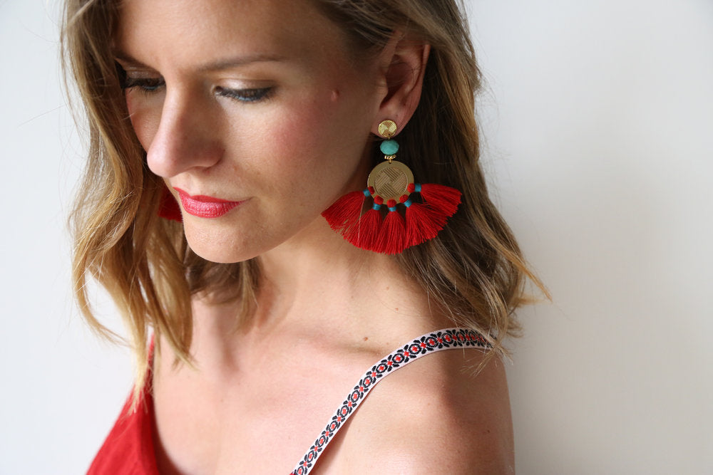 Sol Tassel Earring - Red