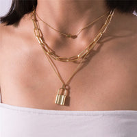 Lock Heart Chain Necklace 3 Piece