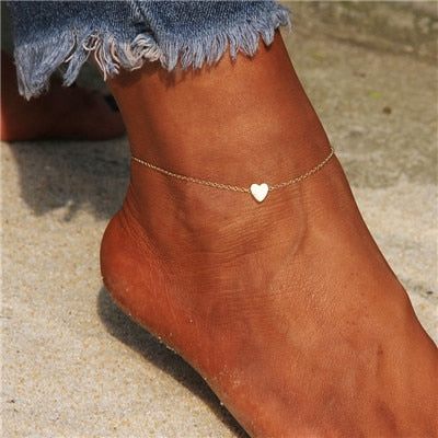 Heart + Pearls Dainty Anklets