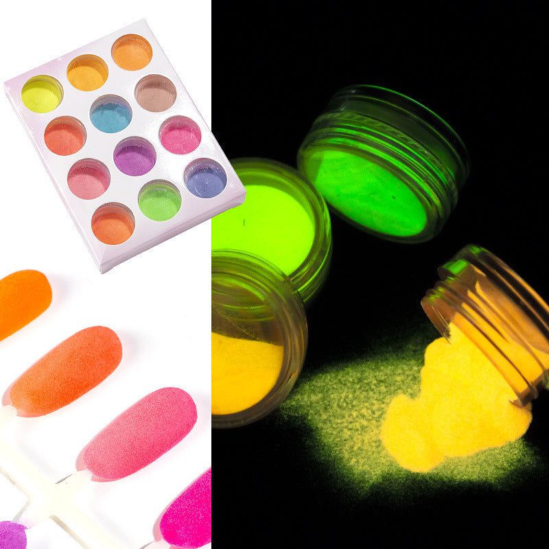 12 Colours Neon Fluorescent Nail Glitter Powder