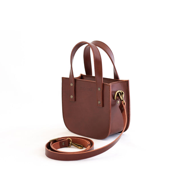 ISABEL small tote bag in brown - MOIMOI accessories