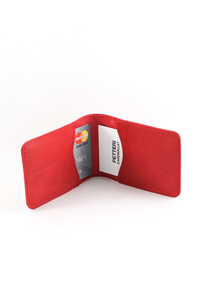 PETTERI leather card wallet in red - MOIMOI accessories