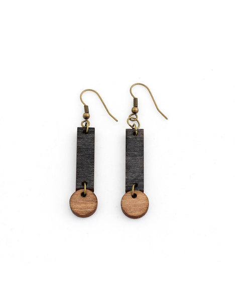 CERILLA earrings in black and dark wood - MOIMOI accessories
