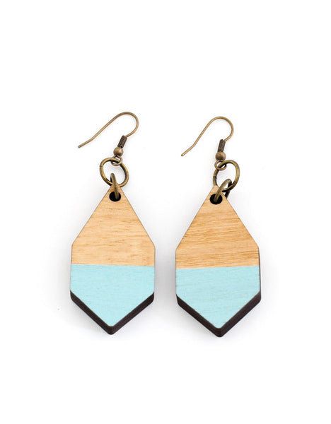 DIAMANTE earrings in light wood and baby blue - MOIMOI accessories