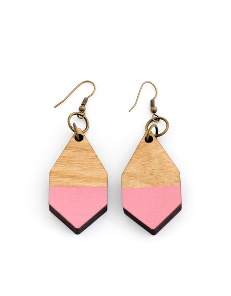 DIAMANTE earrings in light wood and pink - MOIMOI accessories