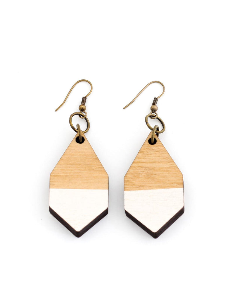 DIAMANTE earrings in light wood and white - MOIMOI accessories