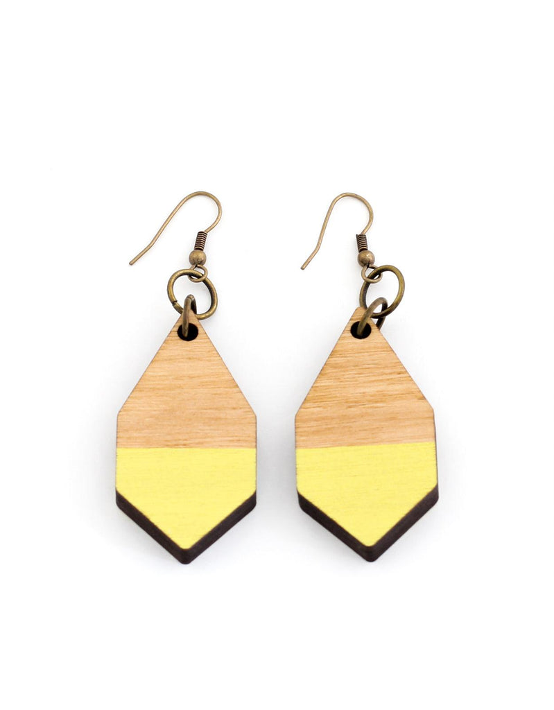 DIAMANTE earrings in light wood and yellow - MOIMOI accessories