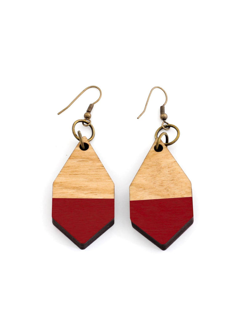 DIAMANTE earrings in light wood and red - MOIMOI accessories