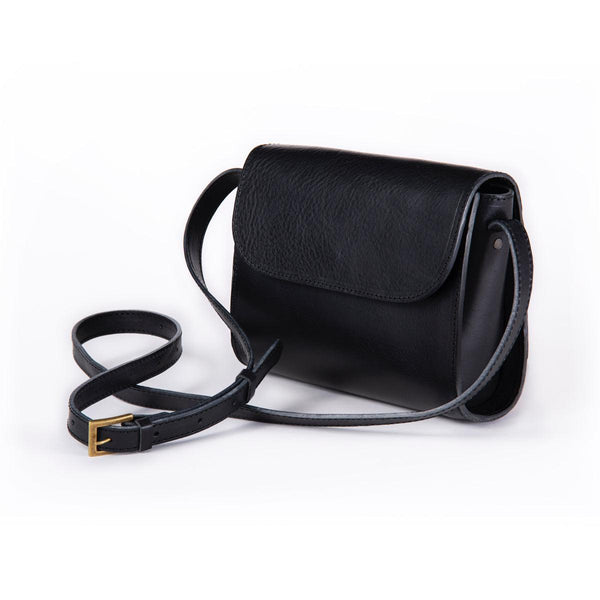 ELVI cross body bag in black (grain leather) - MOIMOI accessories