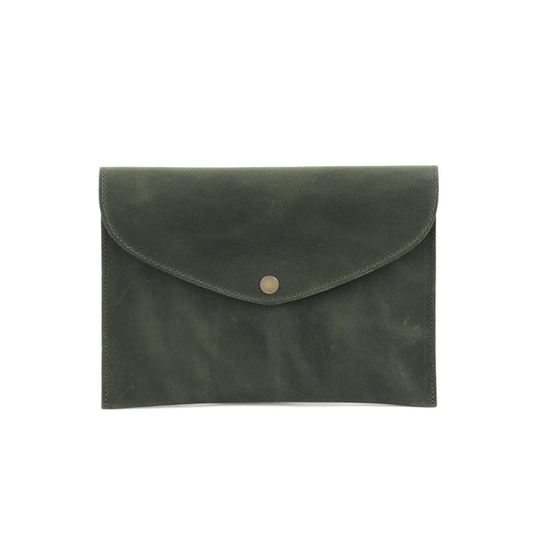 ROSEMARY clutch in green nubuck - TREASURES - MOIMOI accessories