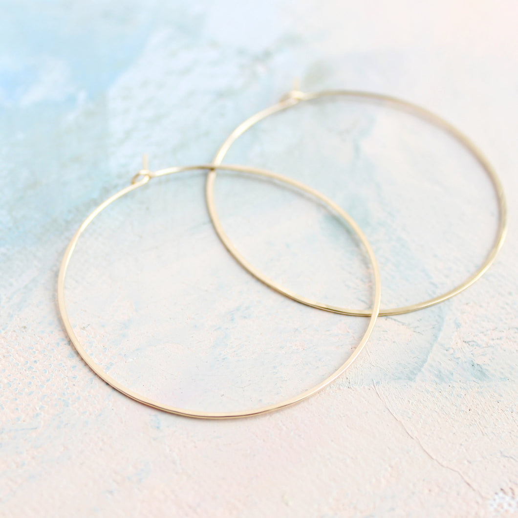 Minimal Hoop Earrings - Thin Gold Hoop Earrings - Large Hoop Earrings ( 2