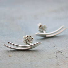 Load image into Gallery viewer, Ear Climber Earrings - silver ear climber pure sterling silver earrings with contemporary minimalist jewelry design
