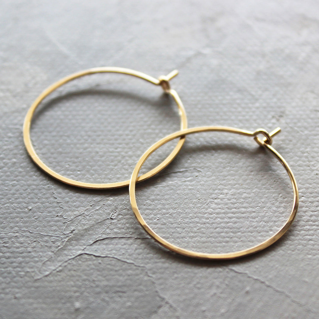 Solid Gold Hoop Earrings - Small Hoop Earrings ( 1