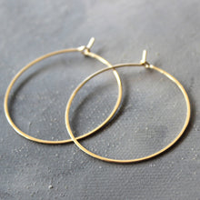 "Load image into Gallery viewer, Solid 14k Gold Hoop Earrings - Genuine Gold Hoops - Medium ( 1.5"" ) thin hoop earrings, gold hoop earrings, gold earrings"