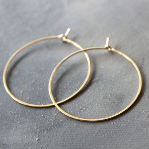 "Solid 14k Gold Hoop Earrings - Genuine Gold Hoops - Medium ( 1.5"" ) thin hoop earrings, gold hoop earrings, gold earrings"