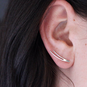 Ear Climber Earrings - silver ear climber pure sterling silver earrings with contemporary minimalist jewelry design