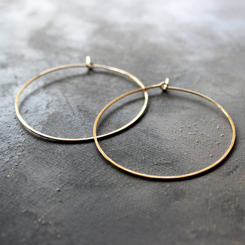 solid gold hoop earrings 14k, Thin Hoops Large 2