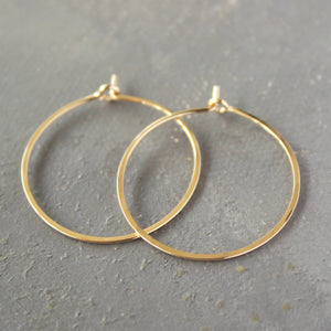 "Solid Gold Hoop Earrings - Small Hoop Earrings ( 1"" ) thin hoop earrings, gold hoops, minimalist earrings,  thin gold hoops, gold earrings"
