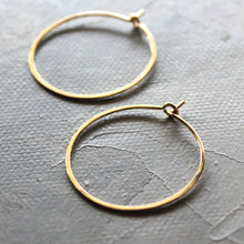 "Load image into Gallery viewer, Solid Gold Hoop Earrings - Small Hoop Earrings ( 1"" ) thin hoop earrings, gold hoops, minimalist earrings,  thin gold hoops, gold earrings"