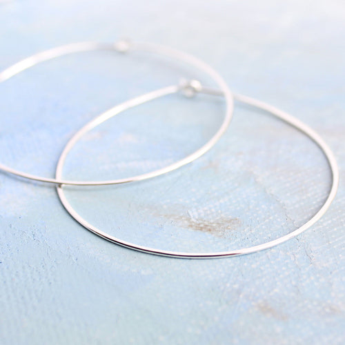 Silver Hoop Earrings, Large Sterling Silver Hoops 2