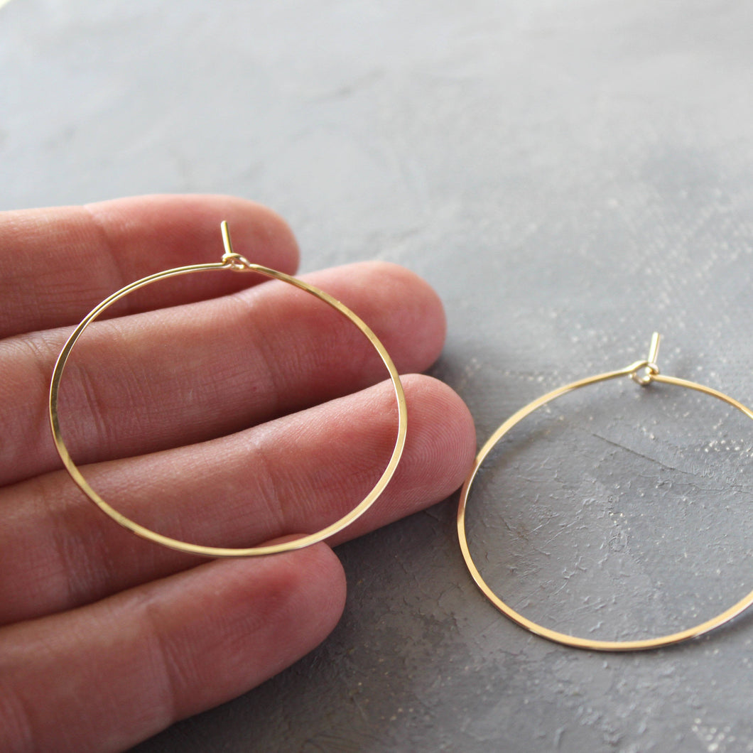 Solid 14k Gold Hoop Earrings - Genuine Gold Hoops - Medium ( 1.5
