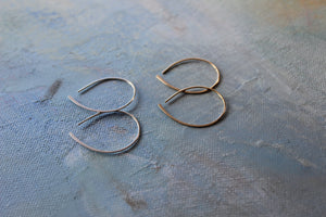 Small Open Silver Hoop Earrings, silver teardrop hoop earrings, thin hoops