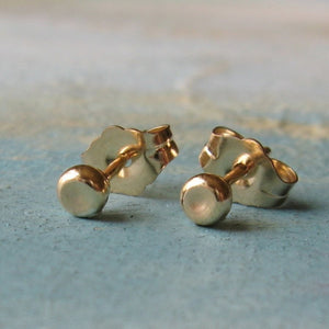 small gold studs - Gold Pebble Earrings ( 3mm ) - handmade gold stud earrings - gold earrings - simple gold stud earrings