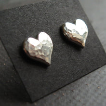 Load image into Gallery viewer, Silver Heart Stud Earrings with hammered textured- sterling silver sweetheart earrings silver stud earings, post earrings