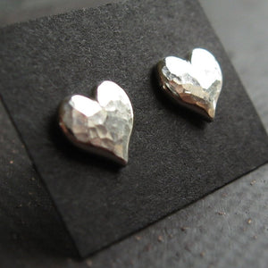 Silver Heart Stud Earrings with hammered textured- sterling silver sweetheart earrings silver stud earings, post earrings