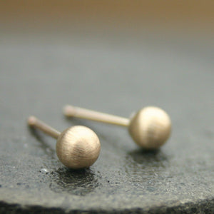 Brushed Gold Stud Earrings (4mm) Matte