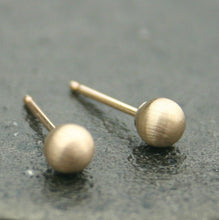 Load image into Gallery viewer, Brushed Gold Stud Earrings (4mm) Matte