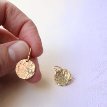 Load image into Gallery viewer, Hammered Gold Earrings, Simple Gold Earrings, everyday earrings, textured gold earrings, gold circle earrings, gold dangle earrings