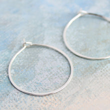 "Load image into Gallery viewer, Silver Hoop Earrings Small Sterling Silver 1"" thin silver hoops"