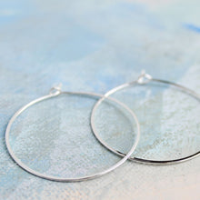 "Load image into Gallery viewer, Silver Hoop Earrings, Medium Sterling Silver Hoops 1.5"" thin hoop earrings, sterling silver hoop earings, minimalist silver earrings"