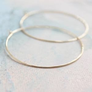 "Minimal Hoop Earrings - Thin Gold Hoop Earrings - Large Hoop Earrings ( 2"" ) gold hoop earings, large gold hoops"