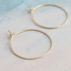 "Small Gold Hoop Earrings, 1"" thin gold hoops, minimalist earrings,  thin gold hoops, gold earrings"