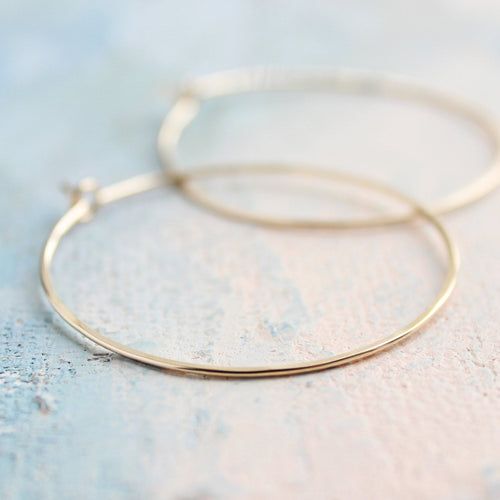 Gold Hoop Earrings Medium, Gold Hoops Earrings 1.5