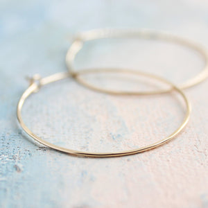 "Gold Hoop Earrings Medium, Gold Hoops Earrings 1.5"" thin hoop earrings, gold hoop earrings"