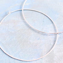 "Load image into Gallery viewer, Sterling Silver Hoop Earrings, Extra Large Silver Hoops 2.5"" thin hoop earrings"