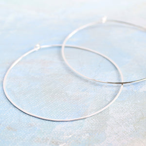 "Sterling Silver Hoop Earrings, Extra Large Silver Hoops 2.5"" thin hoop earrings"