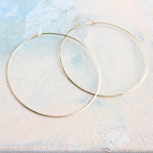 "Load image into Gallery viewer, Thin Gold Hoops, Extra Large Hoop Earrings 2.5"", gold earrings, large gold hoops, gold circle earrings"