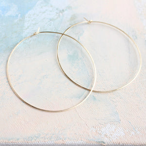 "Extra Large Gold Hoop Earrings, 2.5"" Delicate look"