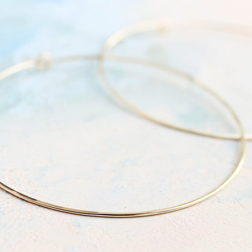 Thin Gold Hoops, Extra Large Hoop Earrings 2.5
